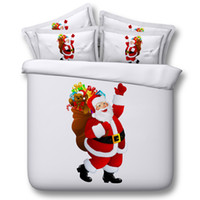 Wholesale Christmas Bedding Sets Queen - Christmas Santa Claus White Bedding Set 4pcs Bedclothes Polyester Bed Set Full Size Quilt Duvet Cover Bedsheet Cotton Bedcover