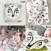 Wholesale Kids Sleeping Mats Wholesale - Baby Blankets Swaddling Sleeping Wrap Air Conditioning Quilt Cartoon Animal Lion Tiger Bear Soft Cushion Kids Carpet Mat Free DHL 553