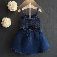 2017 sommer Mädchen Denim Kleid Baby Kinder Plissee Backless Jeans Rock Kinder Denim Slip Kleid