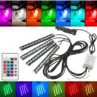 Wholesale Led Light Strips Cars - Car RGB LED Strip Light Atmosphere Lamp 16 Colors Car Styling Decorative Atmosphere Lamps Car Interior Light With Remote