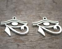pendentes antigos egípcios venda por atacado-10 pcs-Encantos do Olho, Antigo Tibetano prata Olho Egípcio de Horus encantos pingentes 31x26mm