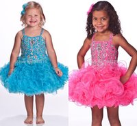 Wholesale Short Jeweled Dresses - Pink Turquoise Glitz Toddle Cupcake Pageant Dresses Jeweled Stones Little Girls Baby Instant Short Child Pageant Dresses HY1284