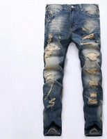 Wholesale International Fashion Sale - Europe and the United States frayed jeans male international speed through the sale of men 's trousers foreign trade jeans men' s jea