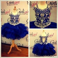 Wholesale Cupcake Pageant Dresses For Teens - 2017 Pageant Dress for teen Princess Little Girls toddler infant Pageant gown Cupcake Ritzee royal blue Ball Gown Flower Girls' Dress