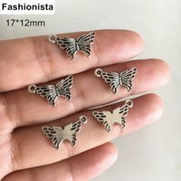 Wholesale Silver Filigree 12mm - 100 Pcs Metal Filigree Butterfly Charms 17*12mm Antique Silver-color Cute Butterfly Jewelry Charms,DIY Crafts Accessories