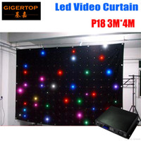 Fire-Proof P18 3M * 4M LED Video Curtain с ПК / SD-контроллером для DJ-свадебных фонов 90V-240V Tricolor Light Curtain Black Velvet Fireproof