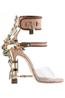 Wholesale Unique Sexy Ladies - Hot Luxury Rhinestone Cover Nail Heel Women Sexy Sandal PVC Patchwork Ankle Buckles Lady Unique Party High Heels Lock Side Shoes