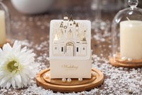 Wholesale Wedding Couples Pictures - White western style laser cut wedding couple picture favor candy boxes CB5093