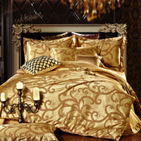 Wholesale Silk Sheets Double - Wholesale-Luxury jacquard silk bedclothes set Silver bedding sets double full queen king size bed sheet set,bed set bed linen #15
