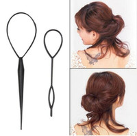 Wholesale Topsy Tail Hair Accessory - 2pcs set Magic Topsy Tail Hair Braid Ponytail Styling Maker Clip Tool Black Drop Shipping Hair Band Accessories