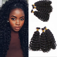 Wholesale bulk human braiding hair deep wave for sale - 3 Bundles Human Hair Bulk for Braiding Peruvian Deep Wave Bulk Hair for Black Women FDSHINE