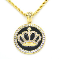Wholesale Golden Crown Necklace - Hip hop Iced Out Golden Crystal Crown Pendant Necklace Rope Chain For Men Women High Quality