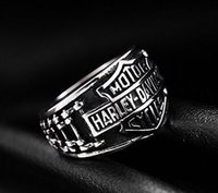 Wholesale Wholesale Mens Rings China - 316 stainless steel fashion NEW motorycycle biker letter ring band party mens ring biker ring size 7~15