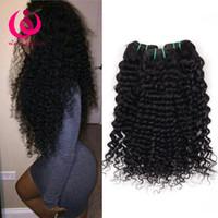 Wholesale Hair Weaving Machine Kinky Wave - 8A Brazilian Deep Wave Human Hair Bundles Kinky Curly Weave Weft Peruvian Malaysian Indian Mongolian Virgin Hair Deep Curly Hair Extensions