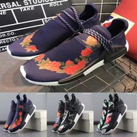 Wholesale Lace Peony Flowers - Blue Peony PW Human Race NMD running shoes flower black red white runner men women sports sneaker low Pharrell Williams trainers size 36-45