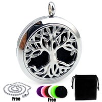 Wholesale Lockets Fragrance - With Chain New Arrival Round Silver Tree and Root (30mm) Perfume Diffuser Locket Pendant Essential Oil Fragrance Perfume Pendant Necklace