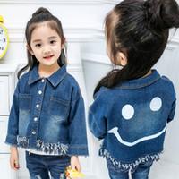 Wholesale Denim Jackets Toddler - Girls Spring Coat Kids Clothing Fall Denim Jackets Smile Print Tassel Children Outerwear Fashion Toddler Clothes