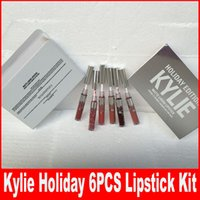 Wholesale Pcs Collections - New Christmas Kylie Holiday Edition 6 pcs Mini Matte Liquid Lipstick Set LTD Collection minis Kylie Cosmetics HOLIDAY EDITION Lip Gloss kits