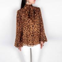 Wholesale Leopard Silk Chiffon Shirt - New 2016 spring summer brand fashion bow collar silk chiffon blouse women tops sexy animal leopard print lantern sleeve shirts