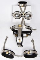 Wholesale Set Mens Steel - 7pcs set Stainless steel male chastity device(collar+bra+Handcuffs+mens Chastity belt pants+Leggings+anal+Legcuffs)men cock cage