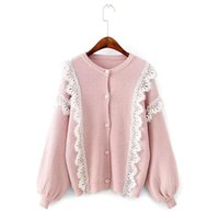 Wholesale Elegant Fashion Sweater - 2017 Autumn and Winter Women Sweater Lace Spliced Short Knitting Open Stich Female Cardigans Laceness Elegant Fashion Sueter Sweater