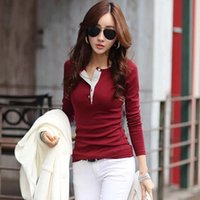 Wholesale Black Slim Shirt Korean Women - Korean Women Fashion Long Sleeve Button Cotton T Shirts Casual Slim Tops Blusa Female Summer Tee Shirt Plus Size