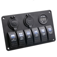 auto-kombi-schalter groihandel-DHL Fedex 5Set 6 Gang Auto Auto Boot Marine LED Wippschalter Panel Leistungsschalter Voltmeter Autoschalter Wasserdichtes Auto