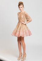 Wholesale Evening Fully Beaded - fully embroidered short cocktail prom evening dresses 2017 tony ward reay to wear wavy skirt and ¾ sleeves in shades of nude and pink