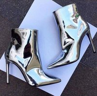 Wholesale Motorcycle Mirror Silver - Fashion Metallic Leather Ankle Boots Pointed Toe High Heels Women Pumps Sexy Ladies Shoes Woman Mirror Gold Silver Women Boots