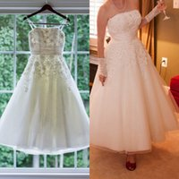 Wholesale Ankle Length Graceful Dresses - Graceful Ankle Length Wedding Gowns Strapless Lace Applique Sash Sleeveless Tulle Wedding Dresses Lovely Short A-Line Bridal Wedding Gowns