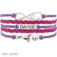 Wholesale Blue Dancer - Custom-Infinity Love Dance Wrap Bracelet Gift for Dancer Dancing Bracelet Blue Pink Red Purple Leather Suede Custom any Themes