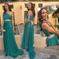 Wholesale Emerald Green One Shoulder Dress - Simple Emerald Green One Shouler Chiffon A Line Prom Dresses With Pink Sash 2017 New Evening Party Gowns With Pleats