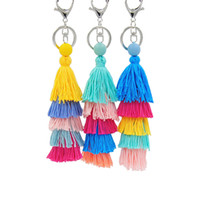 Wholesale Metal Handmade Car - 2017 Hot Vintage Colorful Tassels Key Rings for Women Bohe Ethnic Car Bag Pendant Girls Gift Handmade key Chains Fashion Jewelry Wholesale