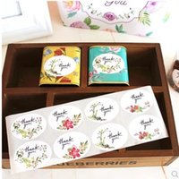 Wholesale Bakery Sealing - Flower Decoration Paster Bakery Package Decor Sticker Gift Bag Box Seal Up Thank You Design Stickers Creative 0 21xl B R