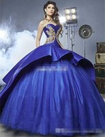 Wholesale Monarch Prom - Luxury Detail Gold Embroidery Quinceanera Dresses with Peplum 2017 Masquerade Ball Gown Royal Blue Sweety 16 Girls Prom Ball Gowns