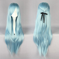 Wholesale Anime Asuna - MCOSER High Quality 85cm Long Blue Anime Sword Art Online Asuna Yuuki Cosplay Wig