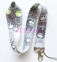 Wholesale Totoro Cell Phone Straps - New Free shipping 30pcs Cartoon Gray My Neighbor Totoro Neck Lanyard for MP3 4 cell phone key chain Mobile Phone Straps Wholesale