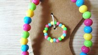 Wholesale Access Jewelry - New Fashion Children's Jewelry Sets Candy Color Anklet & Toe Ring Set Elastic Foot Jewelry Summer Beach Style Jewellry Baby Kids Access
