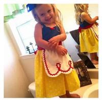 Wholesale Princess Style Apron - Kids Clothing Polka Dot Girls Princess Dress Snow White Kids Cotton Shoulder-straps Costumes With Half Apron 3 Styles DHL Free Shipping