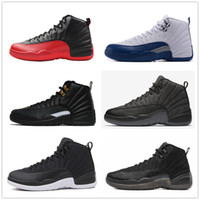 Wholesale canvas shoes wings - Classic 12 ovo 12s basketball shoes flu game french blue the master wool gym red black white wings taxi cherry suede sneakers