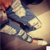 Wholesale Ladies Torn Jeans - Wholesale- 2016 Fashion Woman Loose denim Pants female hole pants lady ripped harem jeans pant girl torn denim leggings Summer trousers