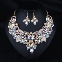 Wholesale Gemstone Party Earrings Gold - New Hot Selling Popular Jewelry Western Style Retro Colorful Gemstone National Necklace Earrings Set White Black