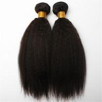 peruvian remy saç paketi toptan satış-Perulu Hint Malezya Moğol Kamboçyalı Brezilyalı Bakire Kinky Straght Düz Saç Örgü Demetleri Ucuz Remy İnsan Saç Uzantıları