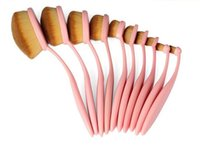 Wholesale Gold Toothbrush - Makeup brushes sets 10pcs Oval Toothbrush Foundation Eye Shadow Blusher Cream Puff Cosmetic Powder Curve Brush Makeup Tools black rose gold