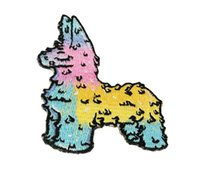 Wholesale Wholesale Character Patches - Special Cartoon Character Avatar Series Blue Lama Embroidery Iron On Or Sew On Patch 7.5*5.5 CM Free Shipping