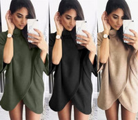 Wholesale Elegant Fashion Sweater - 2016121915 Elegant High Neck Knitted Sweaters Women Autumn Winter Loose Knitwear Pullovers Half Sleeve irregular Outwear Sweater Vestidos