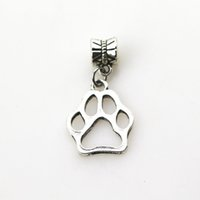 Wholesale Sell Loose Beads - Hot Selling 20pcs Dog Paw Print Big Hole Loose Beads European Big Hole Bead Fits Charms Bracelets & Pendant Diy Jewelry