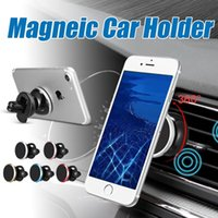 Wholesale Retail Box Aluminium - Magnetic Car Mount For iPhone 8 Air Vent Magnetic Universal Phone Holder 360 Aluminium Edge Car holder For Samsung S8 with Retail Box
