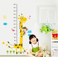 2017 Cute Giraffe Monkey Enfants Hauts Autocollants Cartoon Animaux Sticker Décoration murale Décapant mural amovible Chambre Bébé Bébé