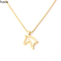 Wholesale Metal Snake Chain Necklaces - Wholesale- hzew fashion cute animal retro personality hollow out horse Metal Necklace&Pendants For Women